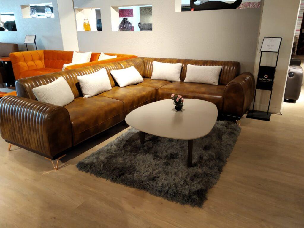 L-shaped Stuffed Leather Sofa Set