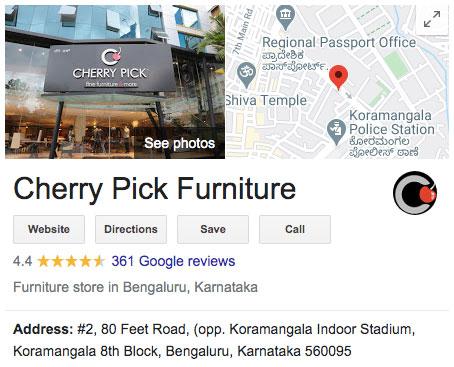 cherry pick furniture google map listings